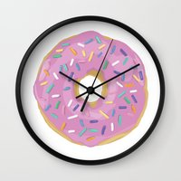 donut Wall Clocks featuring Donut by Sian Murray Art