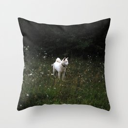 White dog named Wolf Throw Pillow