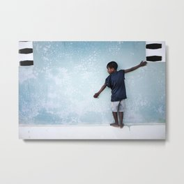 The Orphan and the Blue Wall Metal Print