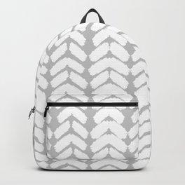 Hand-Drawn Herringbone (White & Gray Pattern) Backpack