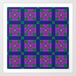 Disco Preppy Tiles Art Print