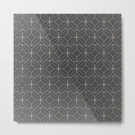 Minimalist Geometric Diamond Shapes in Charcoal Grey Metal Print