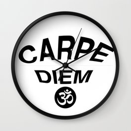 Carpe Diem Print with Om Symbol Wall Clock