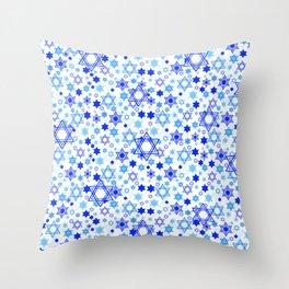 Dynamic Blue Stars of David Pattern Throw Pillow