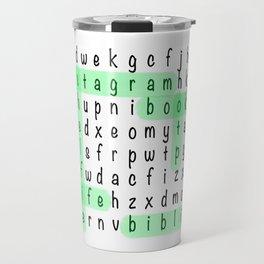 Bookstagram Word Search - Green Highlighter Travel Mug