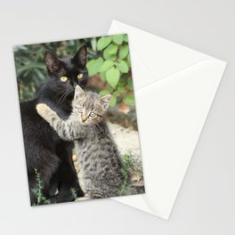 Mommy and me Kitten and Mother Cat Portrait Stationery Cards