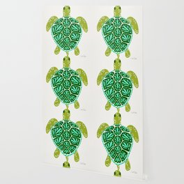 Sea Turtle – Green Palette Wallpaper