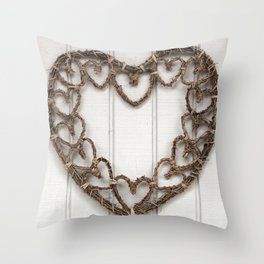 Heart of Twigs Throw Pillow