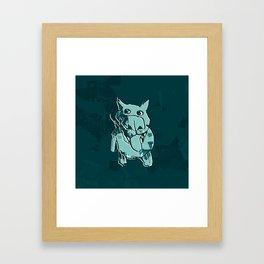 Citydog, teal Framed Art Print