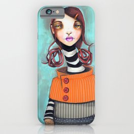 Original Mixed Media Portrait by Jenny Manno iPhone Case
