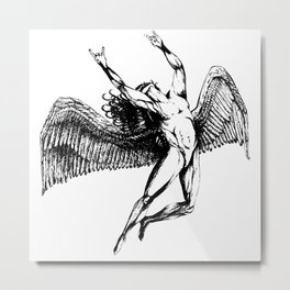 ICARUS THROWS THE HORNS - solid black Metal Print