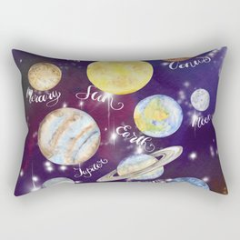 Planets Names Set Illustration Rectangular Pillow