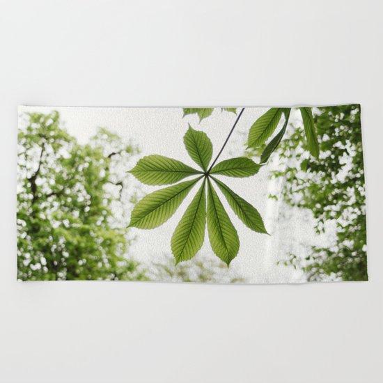 Green Spring Leaf Beach Towel