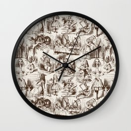Alice in Wonderland | Toile de Jouy | Brown and Beige Wall Clock