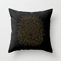 lannister Throw Pillows featuring lion / black by Anna Grunduls