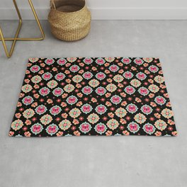 Butterfly And Flower Medallions - Black Color Rug