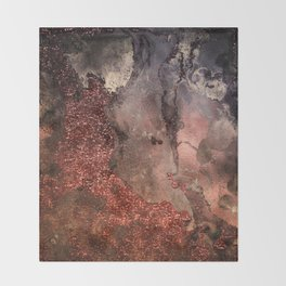 Copper Glitter Stone and Ink Abstract Gem Glamour Marble Throw Blanket