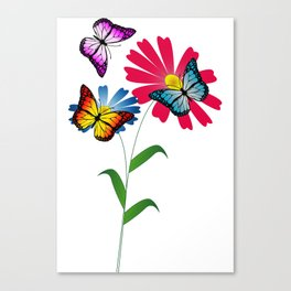Colorful butterflies and flowers Canvas Print