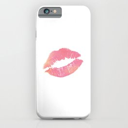 Watercolor Pink Lips Lipstick Chic Romantic Kiss Girls Bedroom Wall Decor fashion poster grl pwr iPhone Case