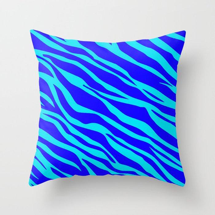 Blue And Aqua Zebra Striped Throw Pillow By Jnccreations