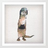 otter Art Prints featuring Otter by David Fleck