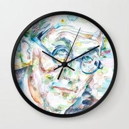 LE CORBUSIER - watercolor portrait Wall Clock