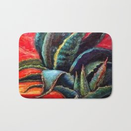 """WESTERN BLUE AGAVE ABSTRACT """"SHIP OF THE DESERT"""" Bath Mat"""