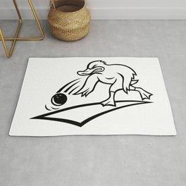 Duck Bowler Bowling Ball Cartoon Black and White Rug