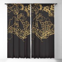 SINGAPORE GOLD ON BLACK CITY MAP Blackout Curtain