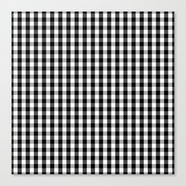 Classic Black & White Gingham Check Pattern Canvas Print