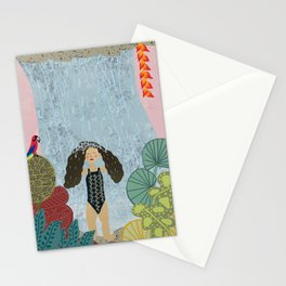 Girl in tropical jungle waterfall Stationery Cards