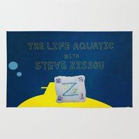 the life aquatic Area & Throw Rugs featuring life aquatic with steve zissou flag by 21871
