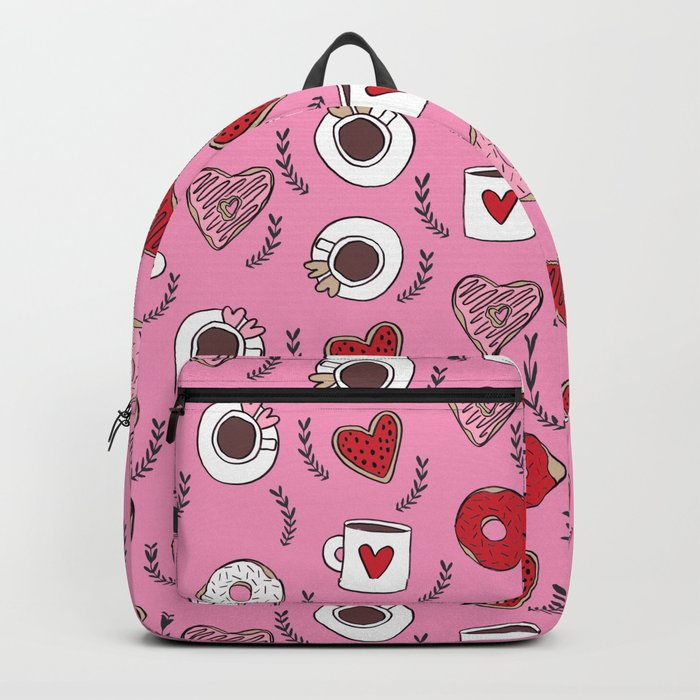 Valentines donuts and coffee cute gifts for love valentine andrea lauren Backpack