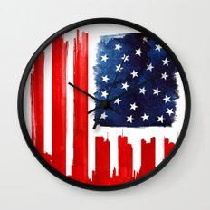 stars and buildings Wall Clock