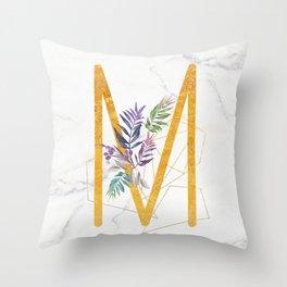 Modern glamorous personalized gold initial letter M, Custom initial name monogram gold alphabet prin Throw Pillow