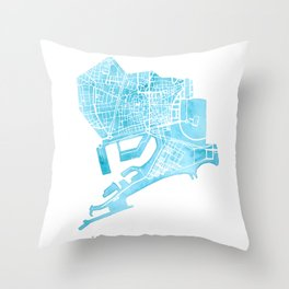 Barcelona map: Ciutat Vella Throw Pillow