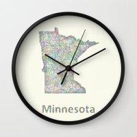minnesota Wall Clocks featuring Minnesota map by David Zydd