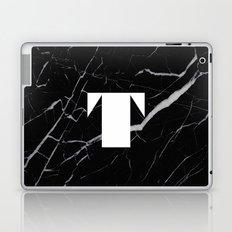 Black Marble - Alphabet T Laptop & iPad Skin