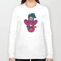 cyclops Long Sleeve T-shirts featuring Frightened Cyclops by Artistic Dyslexia