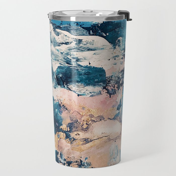 Sweetly: a bohemian, abstract work on paper in blue, pink, white, and gold Travel Mug