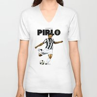 pirlo V-neck T-shirts featuring Andrea Pirlo by Rudi Gundersen