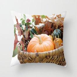 Fresh pumpkin in basket Throw Pillow