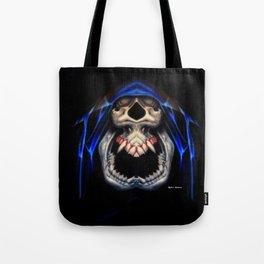 Blue Caped Skull Tote Bag