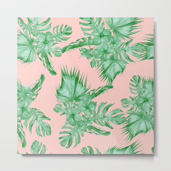 Dreaming of Hawaii Coral Pink + Green Metal Print