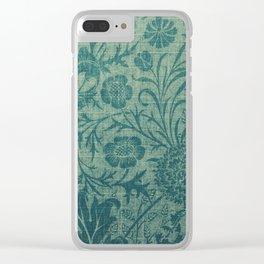 art Nouveau,teal,William Morris style, floral,chic,elegant,modern,trending,victorian decor,floral pa Clear iPhone Case