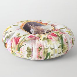 Wedding horse and tulips Floor Pillow