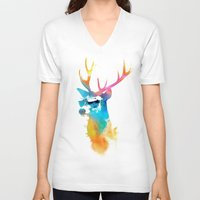 stag V-neck T-shirts featuring Sunny Stag by Robert Farkas