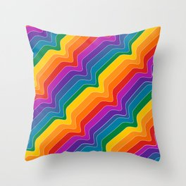 Rainbow Wave Throw Pillow