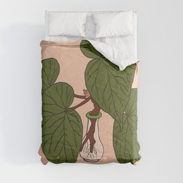Begonia Houseplant Illustrated Print Comforters