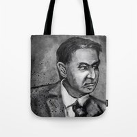 carl sagan Tote Bags featuring Carl Sagan by Wesley S Abney